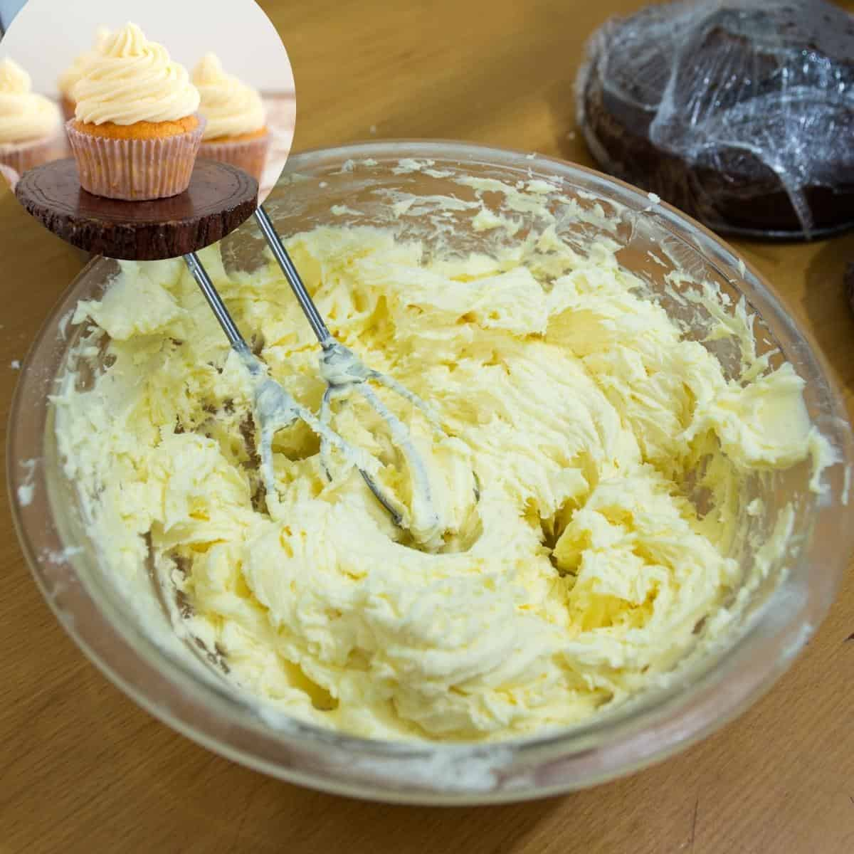 A bowl and whisk whipping French buttercream.