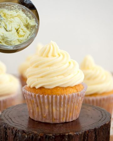 A cupcake frosted with French Buttercream.