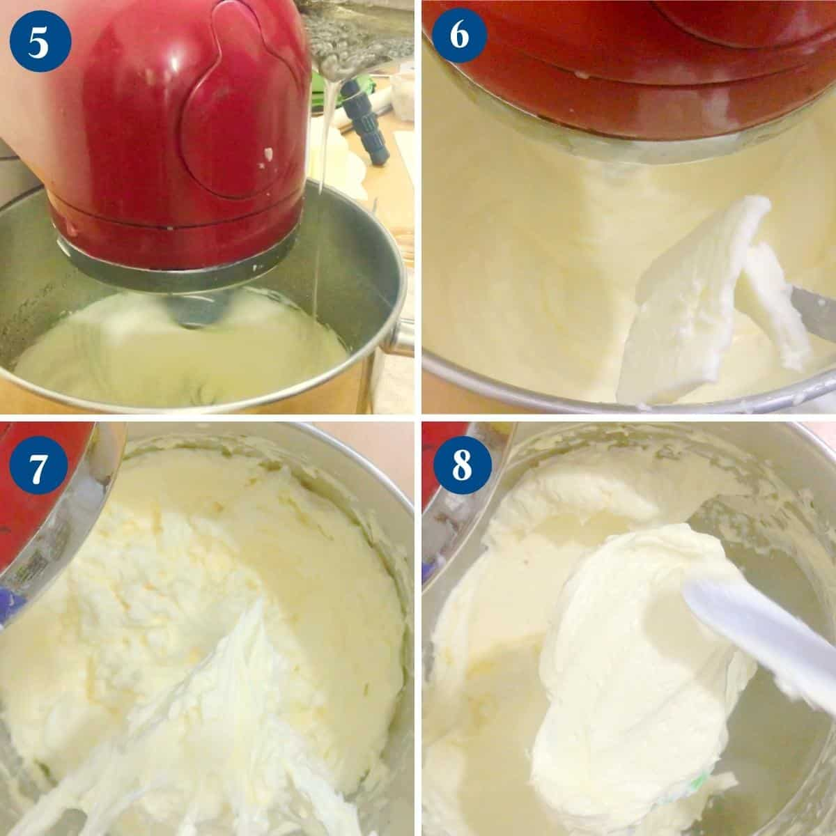 Progress pictures collage whipping egg yolks with sugar syrup.