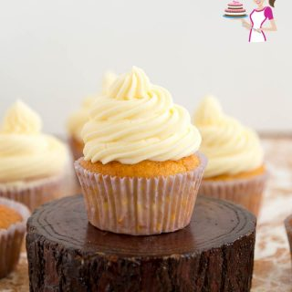 A cupcake with French buttercream frosting.
