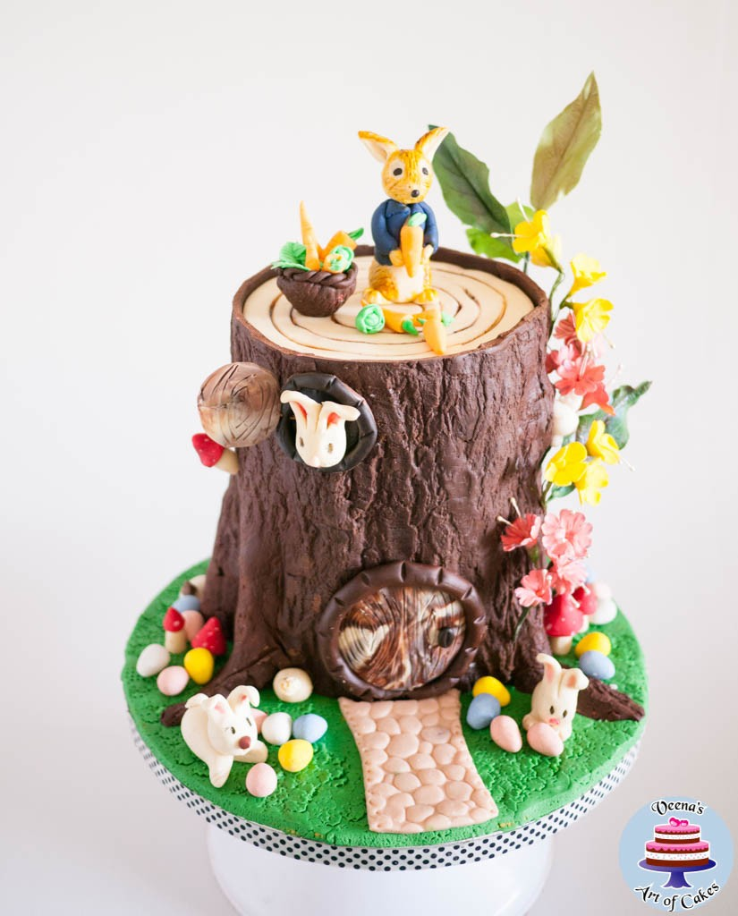 Easter Tree Stump Cake With Peter Rabbit Veena Azmanov