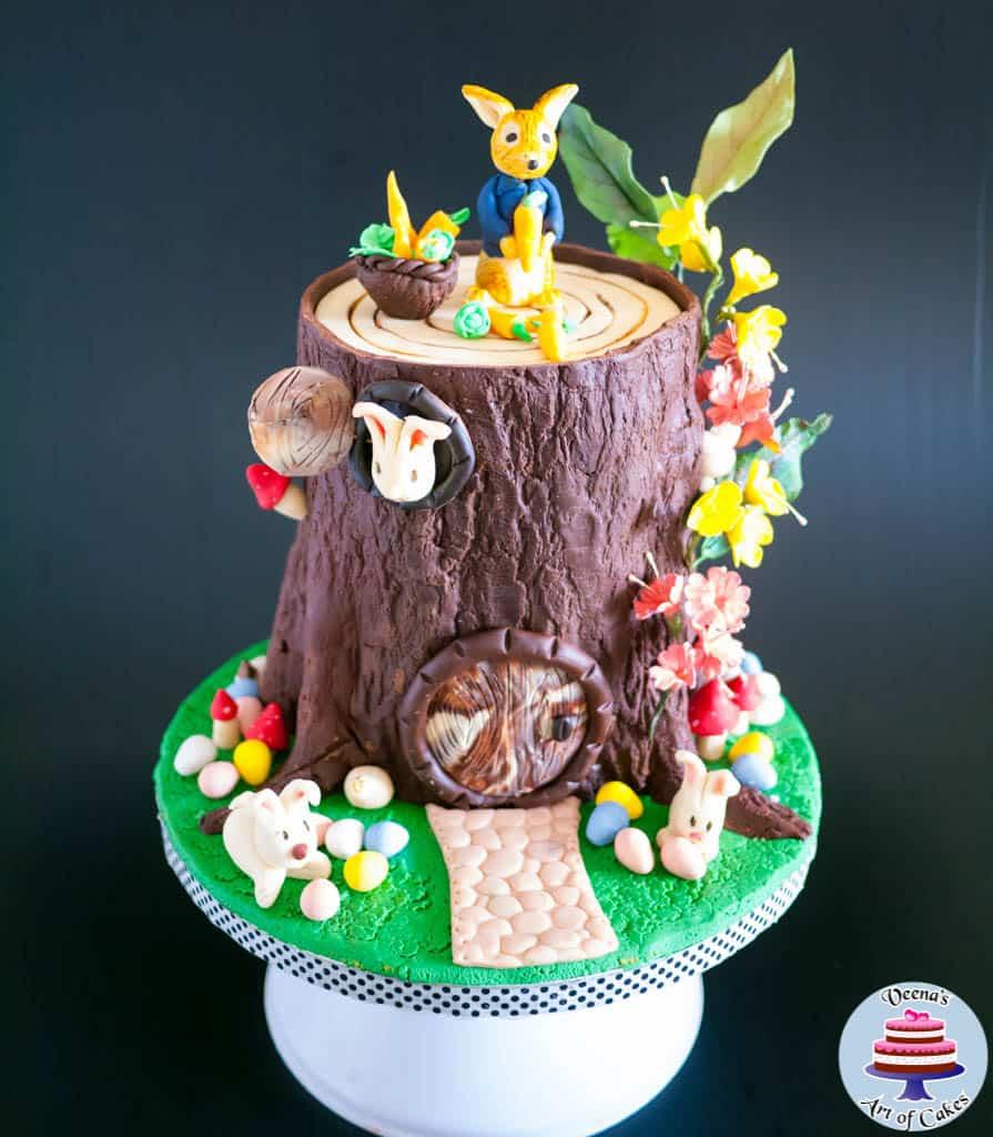 Easter Tree Stump Cake With Peter Rabbit Veena Azmanov