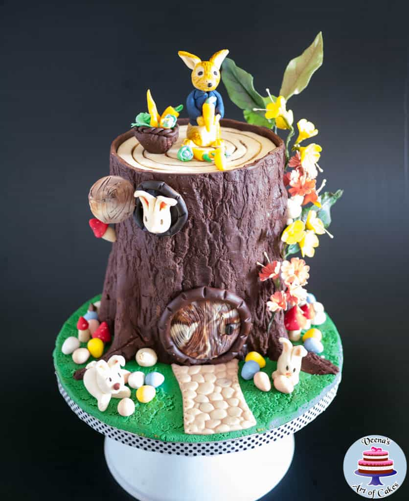 Easter Tree Stump Cake With Peter Rabbit