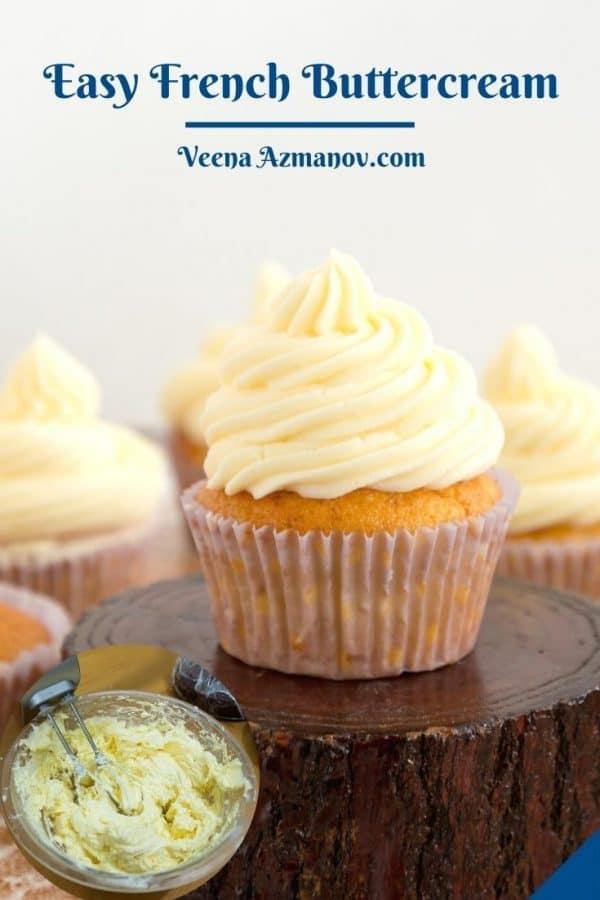Pinterest image for buttercream with egg yolks.