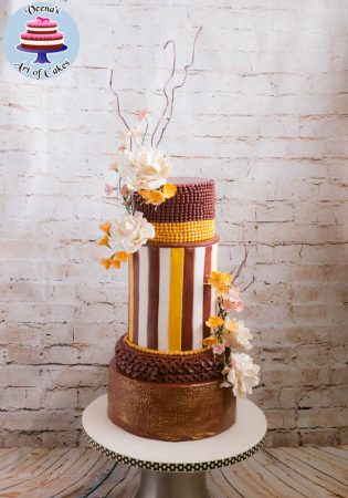 Burgundy Gold Autumn Inspired Cake