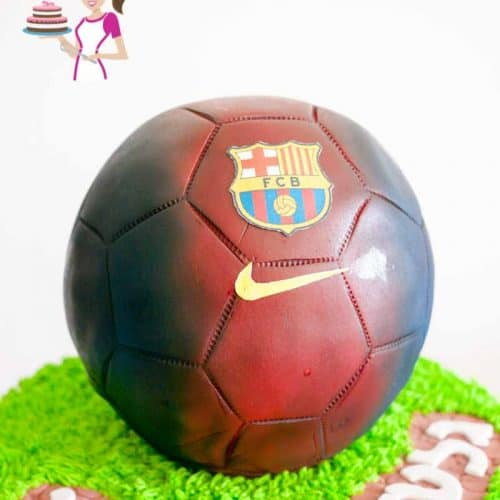 A cake decorated to look like a Barcelona football.