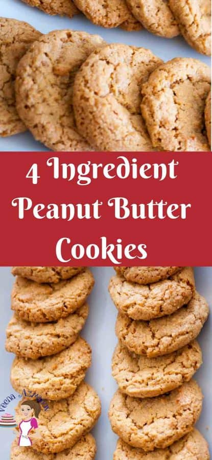 These peanut butter cookies can be a life saver when you want something quick and easy for a tea time sweet snack. Just four ingredients and 10 minutes baking time you have the soft more delicious morsels melt in your mouth.