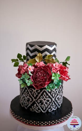Black Damask Cake with Vintage Rose