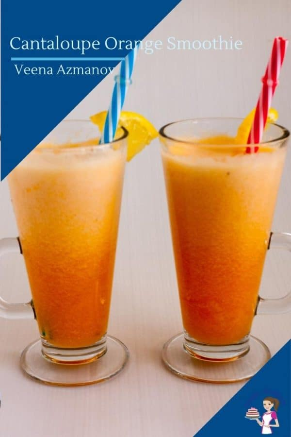 An image to share on pinterest for smoothie with cantaloupe
