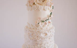 Dress Inspired White Wedding cake-1
