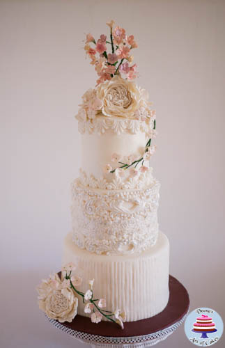 Dress Inspired White Wedding Cake