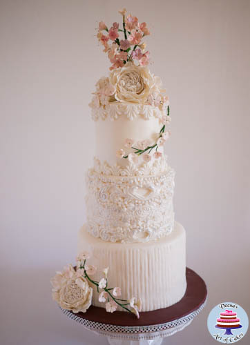 Dress Inspired White Wedding cake-2