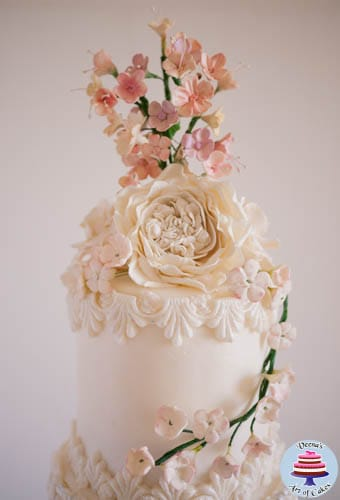 Dress Inspired White Wedding cake-3