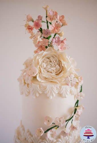 Dress Inspired White Wedding cake-3