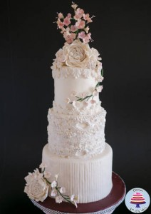 Dress Inspired White Wedding cake-5