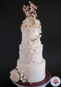 Dress Inspired White Wedding cake-5