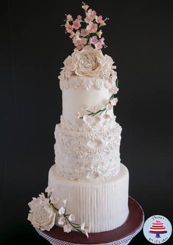 White Wedding Cakes 53 Simple Dress Inspired White Wedding