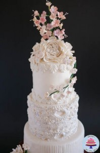 Dress Inspired White Wedding cake-6