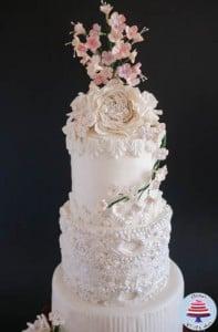 Dress Inspired White Wedding cake-6