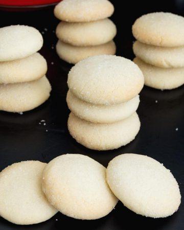 Shortbread cookies on a black board