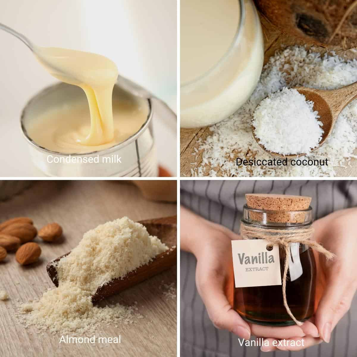 Ingredients for coconut macaroons.