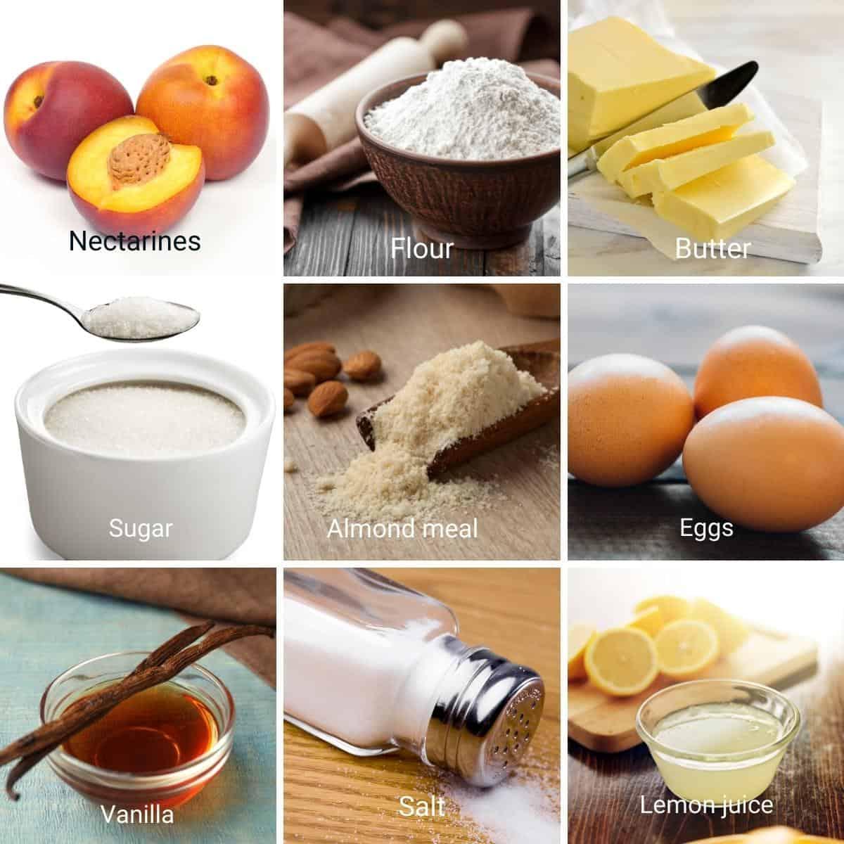 Ingredients for nectarine tart.