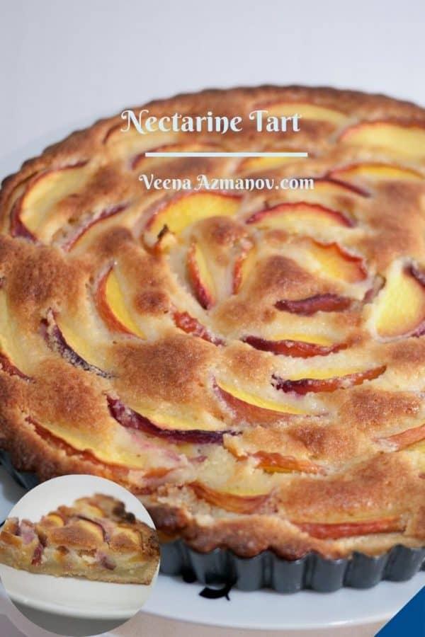 Pinterest image for nectarine tart.
