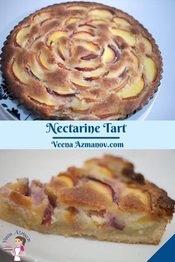 Pinterest image for for tart with fresh nectarines.
