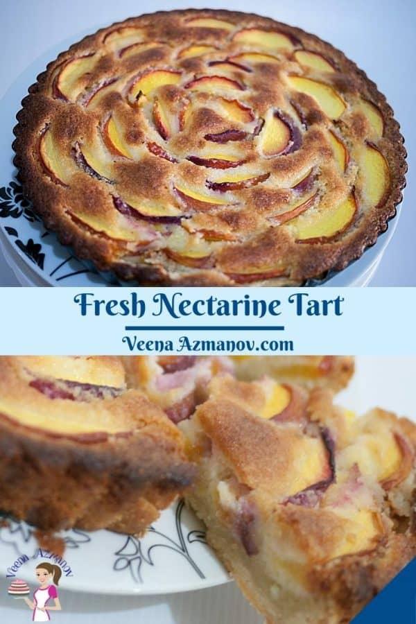Pinterest image for frangipani tart with nectarines.