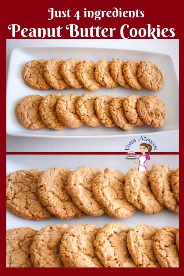Two rows of peanut butter cookies.