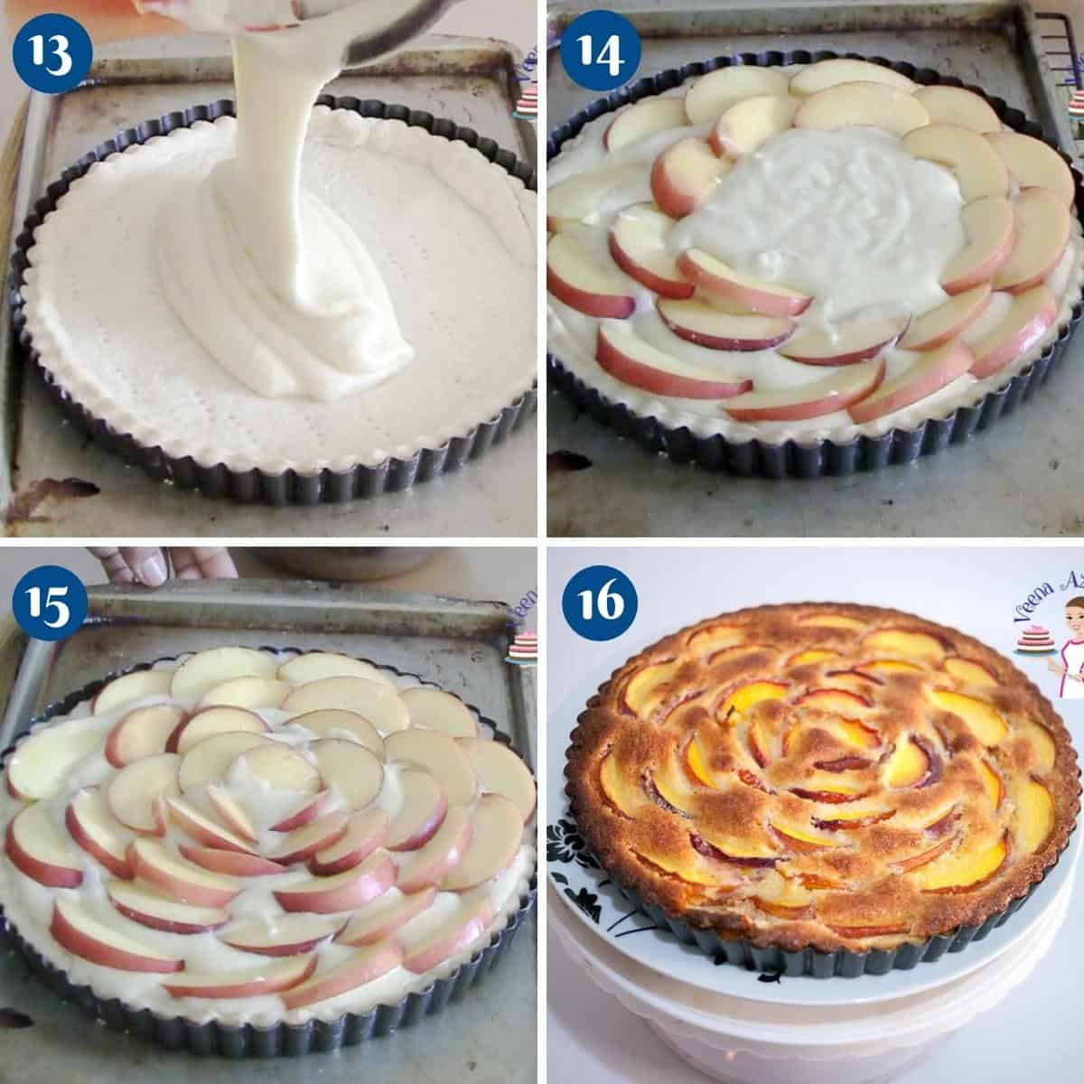Progress pictures baking the tart with nectarines.