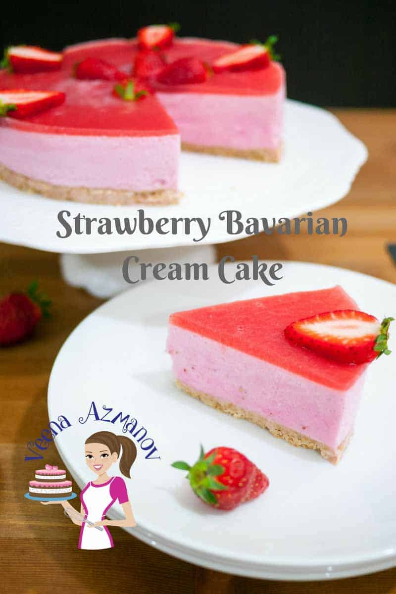 Strawberry Bavarian Cream Cake Recipe - Veena Azmanov