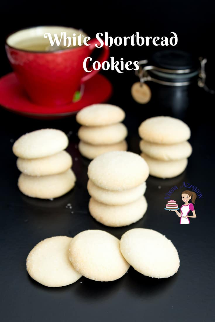 An image optimized for social media sharing for these melt in the mouth white shortbread cookies