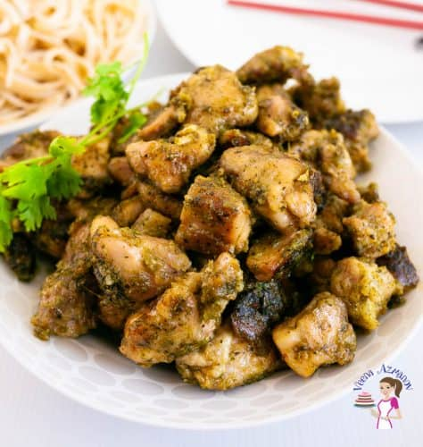 Cooked chicken with cilantro lemon