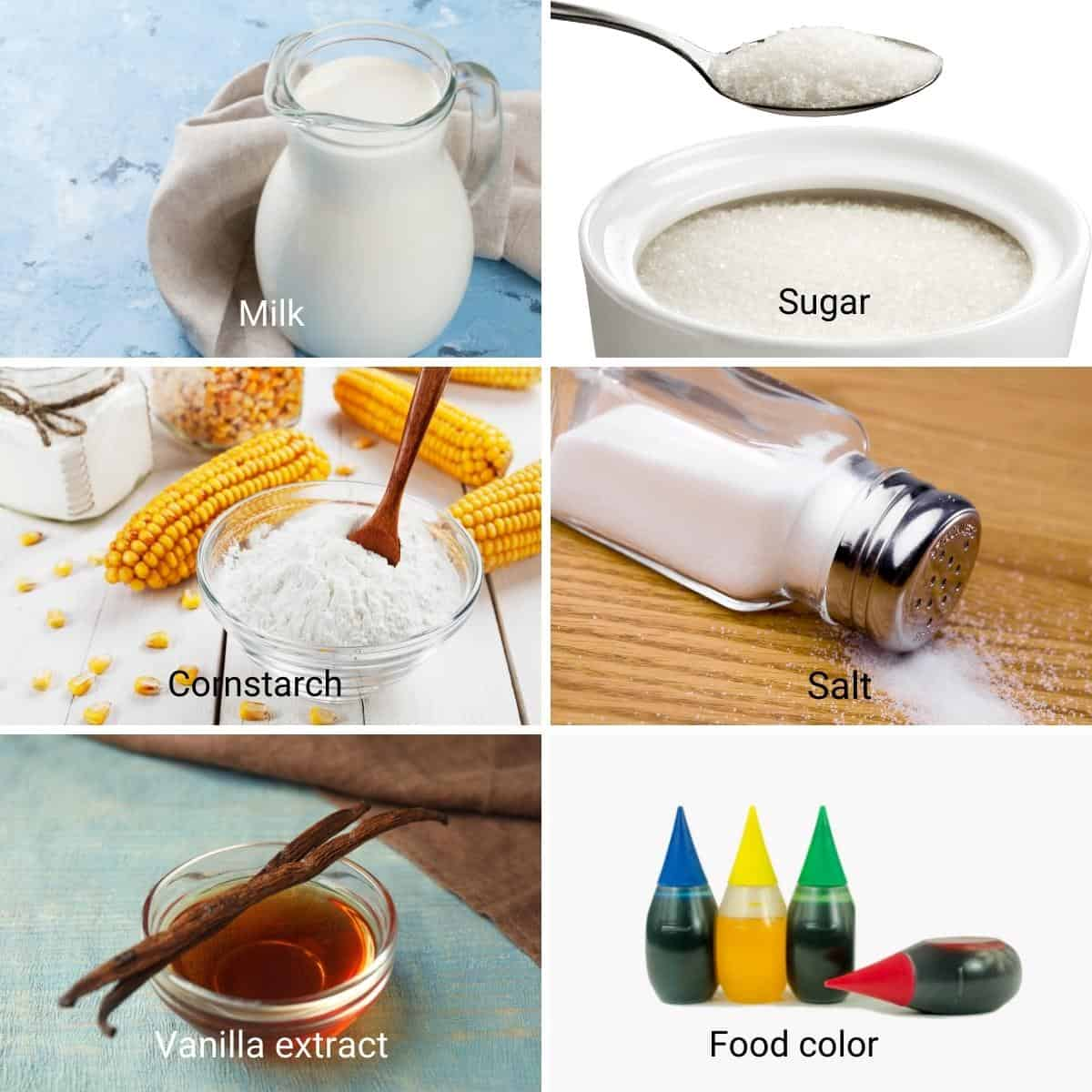 Ingredients for eggless vanilla pastry cream.