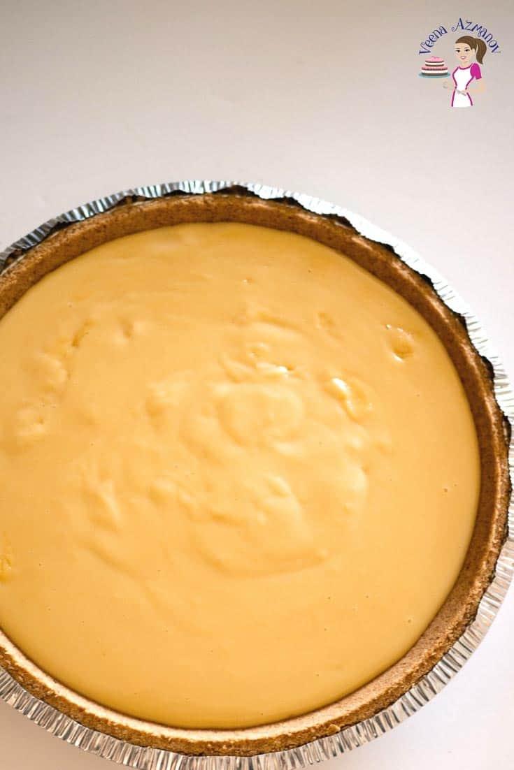 A vanilla pastry cream tart.