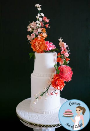 Floral White Wedding Cake