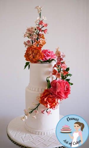 Floral Wedding Cake  (8)