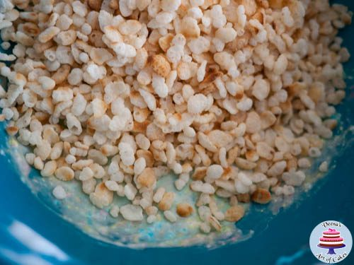 Microwave for about a minute Add the Rice Krispy's and stir well.