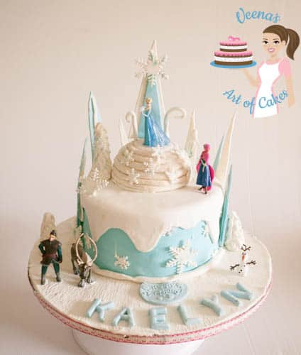 A cake decorated in the Frozen movie theme.