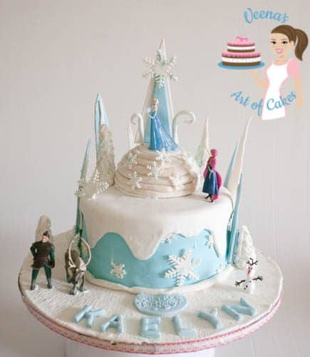 Progress photos of making a cake decorated in the Frozen movie theme.