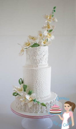 Orchids White Wedding Cake