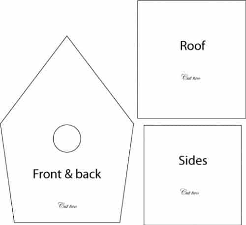 The template for making a sugar paste birdhouse.