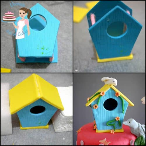 A collage of progress photos of making a sugar paste birdhouse.