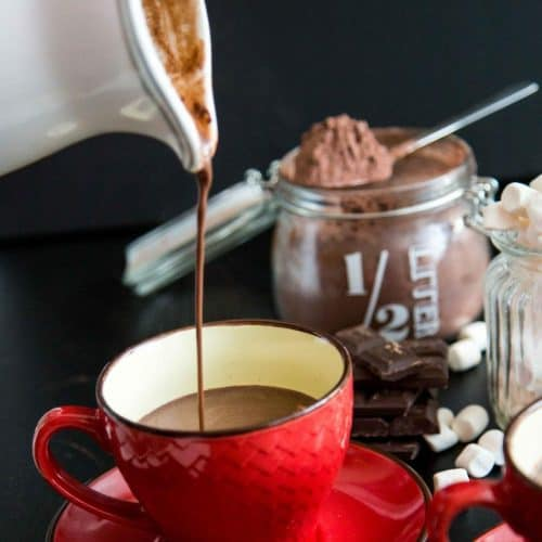 Pouring a cup of hot chocolate.