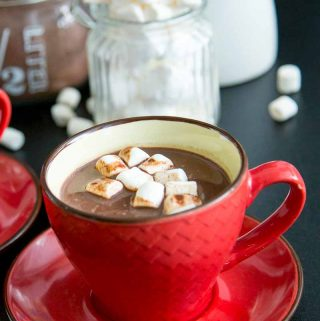 A single cup of Homemade Hot Chocolate Drink topped with Marshmallows