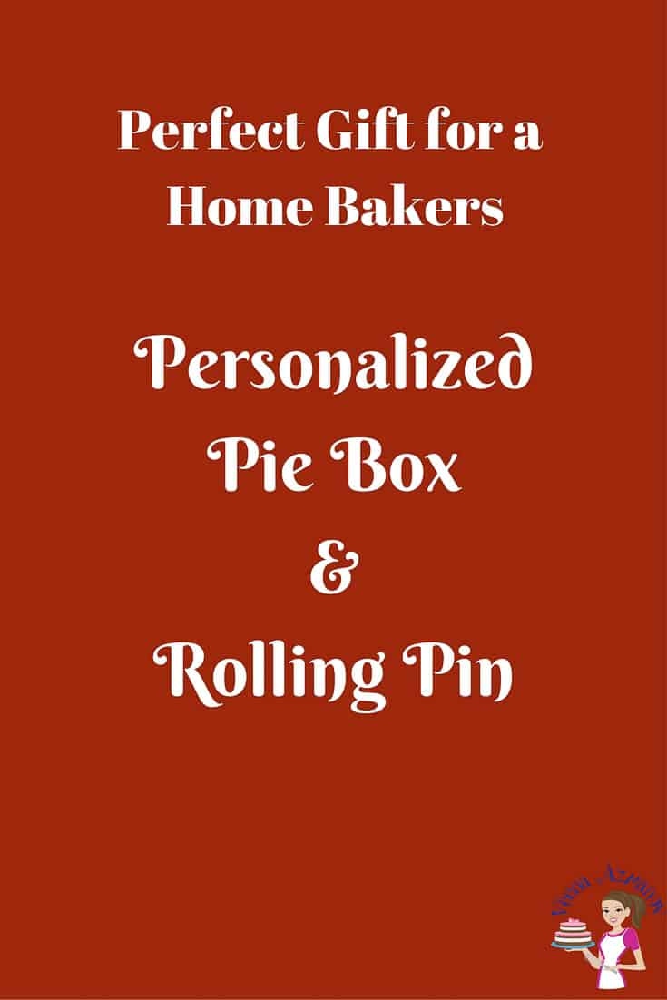 A Personalized Pie Box and rolling pin is a great gift for a home baker. The pride of bringing your baked goods into a party in a personalized pie box is like none other.  I received this amazing Personalized Gift this week and it's taken me over the moon.