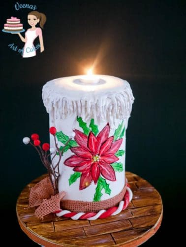 Hand Painted Poinsettia Christmas Candle Cake By VAOC (4)