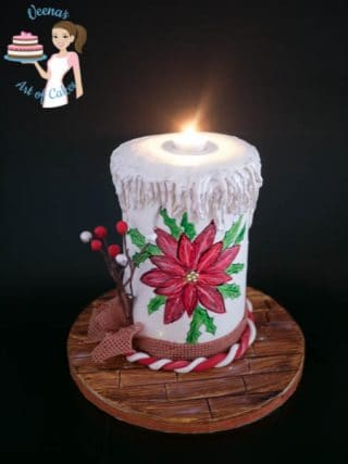 Hand Painted Poinsettia on a Christmas Candle Cake