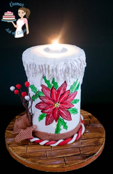 Hand Painted Poinsettia Christmas Candle Cake By VAOC (6)